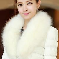 2014 winter slim down cotton-padded jacket  design wadded jacket women's long-sleeve large fur collar cotton-padded jacket