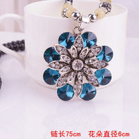 1 Piece Free Shipping 2014 New fashion mix designs long beads chain necklace retro Opal rhinestone crystal pendant necklace