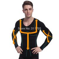 men's slimming shirt body shaper belly buster brand waist cincher underwear belly fat burning corset for men black tops