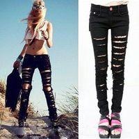 2014 Women Denim Ripped Punk Cut out Sexy Skinny Pants Jeans Pencil Pants Black