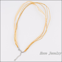 80pcs Multicolor Organza Voile Ribbon Waxed Cotton Necklace Cords Lobster Clasp DIY Jewelry Accessory  HC80913