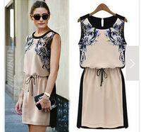 Free ShippingTemperament of new printing mess chiffon sleeveless dress