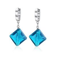Fashion women earrings stainless steel blue stone earrings for women  earring jewelry Christmas Gift  EH-059