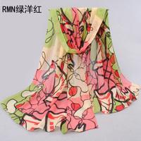 Women Wild Print Chiffon 20 Style Silk Scarves Splice Warm Wrap Shawl Desigual Shemagh Seda Cachecol Xale Free Shipping