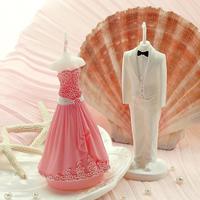 [1 set] wedding favor romatic wedding decoration creative wedding candle white bridegroom + pink bride smokeless handmade candle