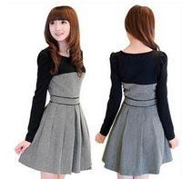 Hot Selling Korea Version Plaid black/white o-neck autumn women leisure one-piece dress Princess bottoming pleated S to XXL