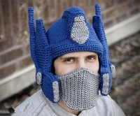 Creative hand made hat knitted ski cap/ transformers hats/ helmet armour Optimus/removable mask hat
