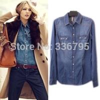 Free Shipping 2014 Autumn and winter New women's BF Style Water wash denim slim genuine shirt slim genuine