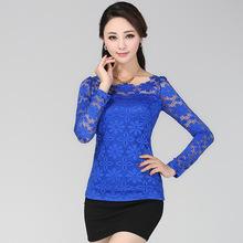2014 New Lace Blusa Floral blusas de chiffon Sheer de manga comprida camiseta Top Roupas Femininas 6color plus size S- 5XL BL017(China (Mainland))