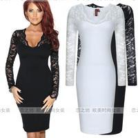 Ebay autumn elegant fashion V-neck sexy long-sleeve slim one-piece dress dr for ess