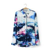 Trendy Women Vintage Ink Landscape Print Long-sleeved Shirt Blouse Tops