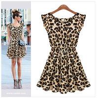 2015 Women Leopard grain Dress Vestidos Verao Clubwear De Praia Mulheres Formal Dresses Casual Women Fall Sexy Bodycon