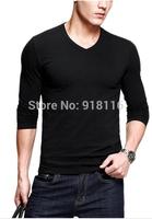 Men's T-shirt Long sleeved V Neck casual shirt Popular man spring autumn winter clothing cotton Tee 5114