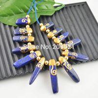 Finding 13pcs Drzuzy Gold Plated Edge , Lapis Lazuli Stone Charms Pendant Fit Necklace
