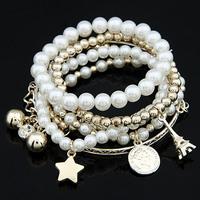 Fashion New Style Bohemian Bead Coins Eiffel Tower Pendant Bracelet Jewelry For Women Wholesale 2014