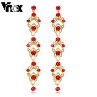 fashion gold drop earrings red crystal dangle jewelry for women wedding jewelry