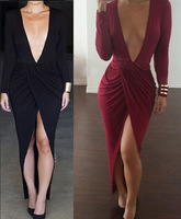 Women Lady Clothing Sexy Dresses Celebrity Black Long Sleeve Bodycon Dress Sexy Club Wear Bandage Dresses Vestidos