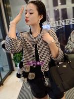 Wool tweed coat  female Korean 2014 new autumn and winter coat large size women short paragraph really rabbit fur coat