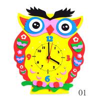 EVA clock DIY handmade materials cartoon clock teach children about time 3D stereo sticker