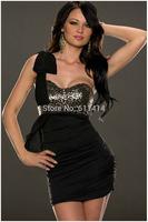 BD055,Free shipping sleeveless strapless falbala beautiful sexy bowknot cherrykeke bustier dress
