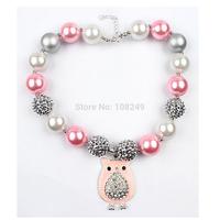 5pcs/lot Christmas Children Chunky  Beads Necklace Pink Owl Pendant Bubblegum Beads Necklace Jewelry Wholesale