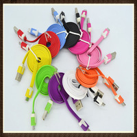 10pcs/lot 1M (3 feet) Colorful Noodles Flat Data Sync Charger Cable 8 Pin Cord for iphone 6 5 5s 5c
