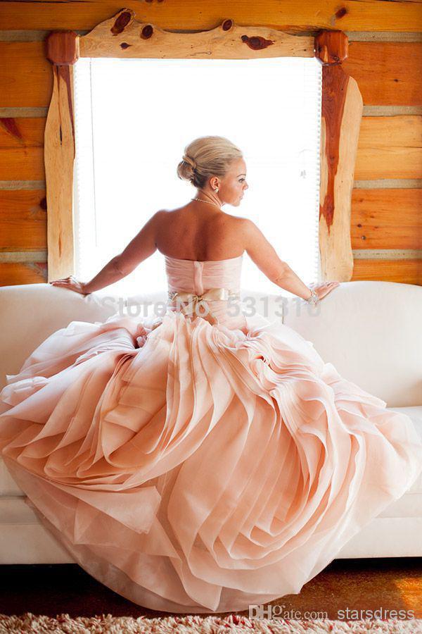 2015 Amazing Wedding Detail Blush Wedding Dresses Pink Bridal Gown Sweetheart Ruffled Pleated