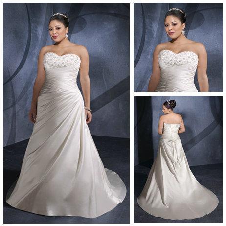 Ivory Satin Sweetheart Best Selling Wholesale Informal Plus Size Wedding Dresses(China (Mainland))