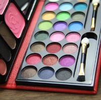 2014 NEW Cosmetic Palette 33 Colors Makeup Kit eyeshadow Shimmer Matte Eye Shadow 2 colors Blush Bronzing  Mirror sponge brush