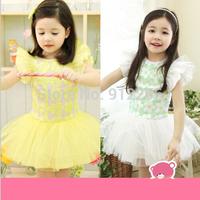 2015 new summer girl dress fahion baby girl summer clothes Flying sleeve bead piece flower yarn Princess Dress,14NOV19