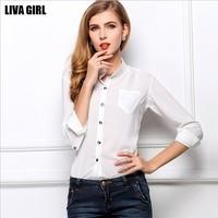 Free Shipping 2014 New S-XL European Casual Slim Womens Chiffon Shirts Fashion Summer Autumn Ladies Girls T-shirts Tops Blouses