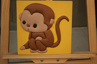 Wood Frame 3D Leather Craft Children Bedroom Decoration Monkey Cartoon Painting Ready to Hang