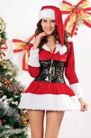 Christmas Fur Dress Stretch Velvet Lingerie Costume Zipper Front Hooded Mini Dress with Faux Fur Trim & Removable Belt +Hat