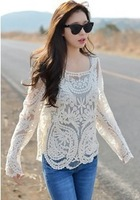2014 Autum new Women'tops Lace Blouse Embroidered flowers Sexy Blusas feminina Shirts free shipping