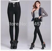 Women Fashion New 2014 Winter Thicken High Waist Fleece Leggings Double Zipper Slim Casual Pencil Trousers Black
