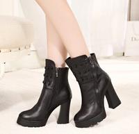 Winter tassel Martin boots autumn and winter boots thick high-heeled platform women's skull short boots