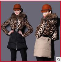 European Brand Fur Leopard Parchwork Women Hooded Down Jacket Plus Size Slim Belt Free Lady Parka Long Warm Padded Clothes Coat