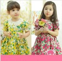 2015 new summer girl dress baby kids clothes floral Lapel dress,14NOV13