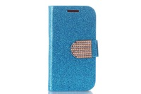 High quality Luxury Glitter Diamond PU leather Wallet Case for Samsung Galaxy SIII MINI I8190