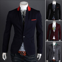 Spring 2014 Mens Blazers Jacket Spell Color England Slim Single Button Stand Collar Men Blazer Designs Brand Blazers Suits