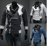 Free ShippingKorean men's Hooded sweater Cardigan slim jacket men sweater
