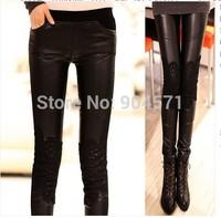 2014 Plus Size Women PU Leather Leggings Patchwork Lace Thicken Fleece Pencil Warm Middle Waist Elastic Casual Black Trousers