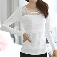 Women's Long sleeve inside fleece T shirt Tops, Women Blouse Autumn Winter Elegant Lace Flower Plus size S-XXL Casual Shirt