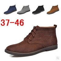 Free shipping in the winter the plush leather high help cotton men's boots and warm wind of England leisure fur leather boots