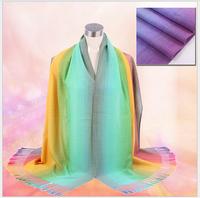 68*175cm 2014 New National Wind Gradient Rainbow Women Winter Wrap Shawl Pashmina Tassels Scarves Free Shipping