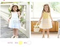 2015 new summer girl dress children clothing baby girls stripe lace dress,14NOV11