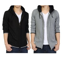 casual hooded Fat male cardigan sweater with zipper plus size solid color ultralarge knitted sweaters free shipping
