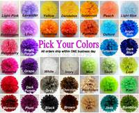"50pcs 14""(35cm) Pick Your Colors Green White Blue Pink Purple Black Red Silver Gold Tissue Paper Pom Poms Bulk Party Flowers"