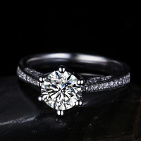 New S925 Sterling Silver Plating 18K White Gold 6 Claws Plating top-class clear 5MM CZ Diamond Wedding Women Ring Free Shipping