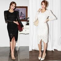 Fashion women summer fashion elegant lace puff sleeve o-neck asymmetrical one-piece dress